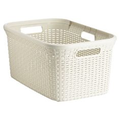 Rectangular Plastic Rattan Basket - the perfect size for my new laundry room. x x 10 at the Container Store Pantry Laundry Room, Laundry Cabinets, Laundry Sorter, Laundry Hamper, Plastic Laundry Basket, Laundry Rooms, Mud Rooms, Household Organization, Laundry Room Organization