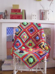 """No pattern, but I LOVE this """"Pom-Pom Square Throw"""" from Jiggle Ma Wiggle!"""