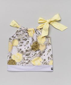 This Sugar & Spice Gray & Yellow Sophia Tie-Neck Top - Infant, Toddler & Girls by Sugar & Spice is perfect! #zulilyfinds