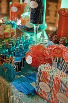 For reception - Orange and blue candy bar