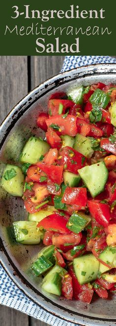 3-Ingredient Mediterranean Salad   The Mediterranean Dish. A quick, refreshing and delicious Mediterranean salad with fresh herbs and a light dressing of fresh lemon juice and olive oil. The best! See it on TheMediterraneanDish.com