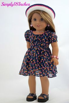 18 inch American Girl Doll Clothing. Navy Chiffon Party Dress, Half Slip…