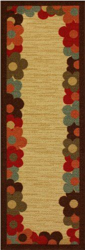 """Rubber Collection Daisy Frame Beige Multi-Color Printed Slip Resistant Rubber Back Latex Contemporary Modern Runner Area Rug (1062) (23""""x59"""" New Thick Version) RugStylesOnline http://www.amazon.com/dp/B00EV9EM0K/ref=cm_sw_r_pi_dp_4Xt6ub02Q5WEM"""