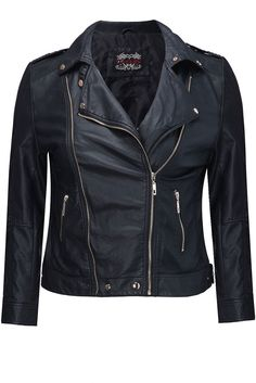 Yours Clothing Womens Plus Size Black biker jacket with zip detail