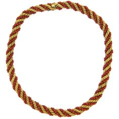 Pre-owned 1960s Italian Gold Coral Bead Rope Necklace ($3,800) ❤ liked on Polyvore