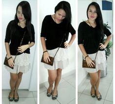 Blusa black +  Saia com brocado + Bolsa artesanal + Sapatilha moleca ♡