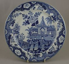 Antique Pottery Pearlware Blue Transfer Ceylon Temple Pattern Plate 1815 Horse £23