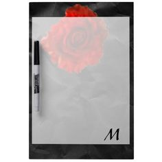 Red rose on black wedding favors dry erase whiteboard