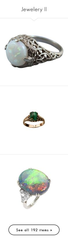 """Jewelery II"" by queen-of-rock-n-roll ❤ liked on Polyvore featuring jewelry, rings, accessories, 14k white gold ring, white opal rings, white gold jewelry, 14k jewelry, deco ring, green and antique yellow gold rings"