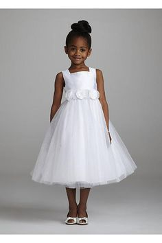 My flower girl dress for Kaitlynn. She will look so cute!Tea length glitter tulle ballgown with detachable floral sash. Tulle Flower Girl, Flower Girl Dresses, Flower Girls, Organza Dress, Communion Dresses, Bridesmaid Dresses, Wedding Dresses, Bridesmaids, Party Dresses
