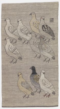 """Dora Jung (Finnish) Hanging, """"Doves"""", 1950 