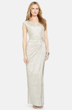 $210 Lauren Ralph Lauren Embellished Metallic Column Gown (Petite) available at #Nordstrom
