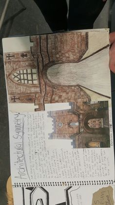 Symmetrical architecture page, sketches and own images of york castle.