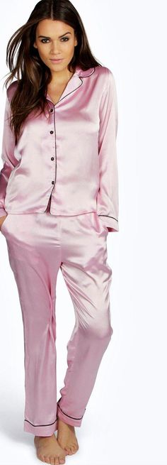 Amelia Contrast Piping Button Down Satin Set - Nightwear  - Street Style, Fashion Looks And Outfit Ideas For Spring And Summer 2017