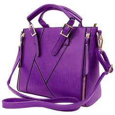 Purple Faux Leather Women's Satchel Cross-body Shoulder Bag