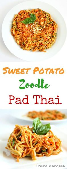 Sweet Potato Zoodle Pad Thai - Chelsea's Choices   This simple Sweet Potato Zoodle Pad Thai is ready in under 30 minutes and has all the flavors you know and love from the classic Pad Thai. thereciperedux