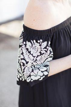 5d0faa967de082 Off The Shoulder Black Embroidered Dress - Poor Little It Girl Blogérsky  Štýl