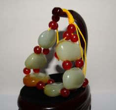 "1.3""China Nature Nephrite Hetian Jade Green With Red Skin Beads Bangle Bracelets"