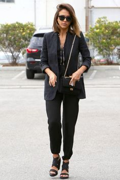 Jessica Alba wearing Chanel 2.55 Reissue Flap Bag, Ill.I Optics Sunglasses and Bcbgeneration Bruce Elastic Open-Toe Wedge Sandals