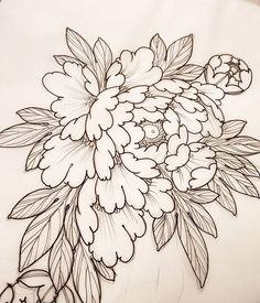 Redraw of the dragon claw chrysanthemum. Japanese Flower Tattoo, Japanese Sleeve Tattoos, Japanese Flowers, Flower Wall Wedding, Flower Wrist Tattoos, Asian Tattoos, Peonies Tattoo, Floral Drawing, Lotus Tattoo