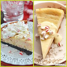 White Chocolate and Candy Cane Cheesecake Mascarpone cheese is even richer than cream cheese, making this lavish cheesecake super creamy. The candy canes make it the perfect holiday dessert.