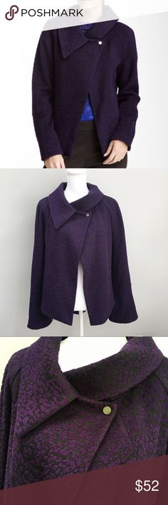 """T Tahari Purple Doni Wool Blend Coat Beautiful single snap closure coat in GUC. Details - Partial spread collar - Long sleeves - Single top button closure - 2 slit pockets - Trapeze silhouette Approximate Measurements - Armpit to armpit 22"""" Armpit to hem 13-1/2"""" - Imported Material - Shell: 50% wool, 29% viscose rayon, 21% acrylic / Lining: 98% polyester, 2% elastane T Tahari Jackets & Coats"""