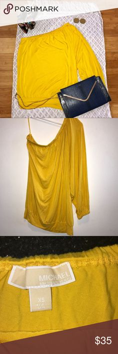 """MICHAEL KORS Sunshine Yellow One Shoulder Top XS """"When you can't find the sunshine...Be the sunshine!""""********MICHAEL KORS Sunshine Yellow One Shoulder Top XS. Elastic banded shoulder, sleeve & bottom. Approx measurements Length 27"""", Width 20"""", Sleeve 23"""". Michael Kors Tops Blouses"""
