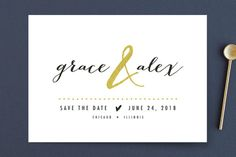 """""""All that Sparkles"""" - Simple, Modern Save The Date Cards in Gold Dust by Robin Ott."""