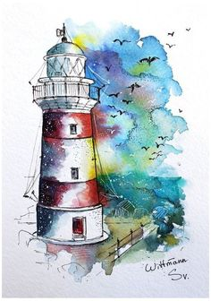 pencil drawings - Lighthouse 2 Original watercolour painting on aquaell paper cm Colorful watercolor artwork 6 Watercolor Artwork, Watercolor Landscape, Watercolor And Ink, Watercolour Pencil Art, Watercolour Illustration, Watercolour Techniques, Watercolor Sketchbook, Lighthouse Painting, Arte Sketchbook