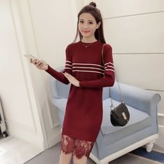 2017 Spring Women Casual Lace Dress Fashion Striped Long Sleeve O-Neck Patchwork Knitting Dresses Vestidos Femininos GX1228