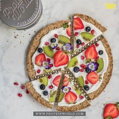Granola Breakfast Pizza2 cups oats¼ cup Protein World coconut oil2 tbsp maple syrup 1 cup greek yogurtFresh fruit for toppingMore on the Blog!
