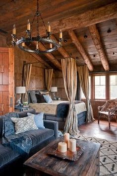 Log cabin bedroom < gorgeous! | Cool
