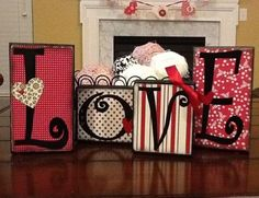 Wood blocks decorated with scrapbook paper and vinyl - Wood Letters Wood Block Crafts, Wood Blocks, Wood Crafts, Fun Crafts, Valentines Day Decorations, Valentine Day Crafts, Holiday Crafts, Valentine Ideas, Holiday Decor