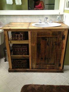 Image result for pallet bathroom shelf