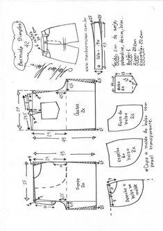 Bermuda simples – Marlene Mukai Baby Dress Patterns, Sewing Patterns For Kids, Clothing Patterns, Skirt Pattern Free, Romper Pattern, Short Pattern, Como Fazer Short, Diy Shorts, Make Your Own Clothes