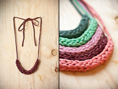dark red vintage woven fabric necklace by nanoukiko on Etsy, $14.00