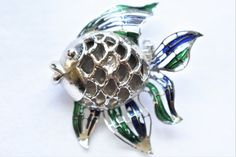 """Vintage Enamel Fish Brooch Figural Coat Sweater Pin Silver Tone Ocean Retro Costume Jewelry 1.5"""" by DecoOwl5 on Etsy"""