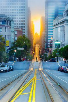 California Street at sunrise. SF