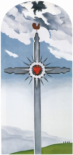 Georgia O'Keeffe, Cross with Red Heart, 1932 oil on canvas 83 x 40 inches, arched at top, Alexandre Gallery Georgia O Keeffe Paintings, Georgia Okeefe, American Modern, New York Art, Arts Ed, Gourd Art, Fine Art Gallery, Community Art, American Artists