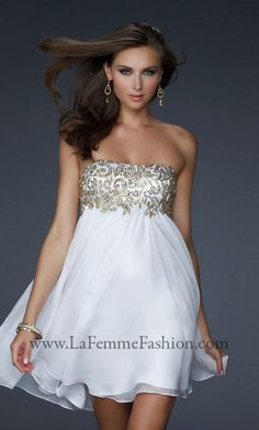Short Strapless White & Gold Dress, La Femme Short Dress-PromGirl