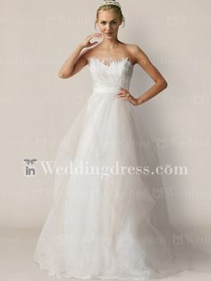 Tulle Strapless Bridal Gown with Re-embroidered Lace BC617- Seriously thinking about getting this dress.. $245