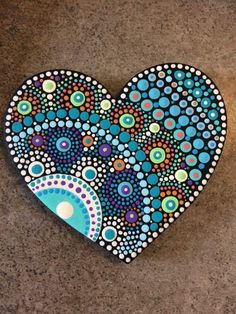 Ideas For Dot Art Painting Heart Dot Art Painting, Mandala Painting, Pebble Painting, Painting Patterns, Pebble Art, Mandala Art, Stone Painting, Heart Painting, Mandala Painted Rocks