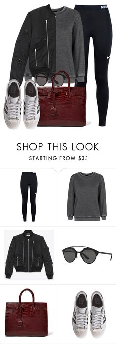 """Sin título #11921"" by vany-alvarado ❤ liked on Polyvore featuring NIKE, Topshop, Yves Saint Laurent, Christian Dior and adidas Originals"