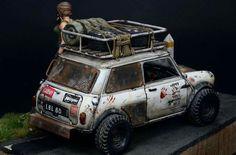 Scale model diorama with car and figure. Titled: Overwatcher by Ki-Yeol Yoon. Mini Cooper S, Mini Cooper Classic, Classic Mini, Classic Cars, Fiat 600, Custom Hot Wheels, Custom Cars, Funny Truck Quotes, Mini 4x4