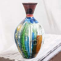 Ceramic decorative vase, 'Abstract City' from @NOVICA, They help #artisans succeed worldwide.