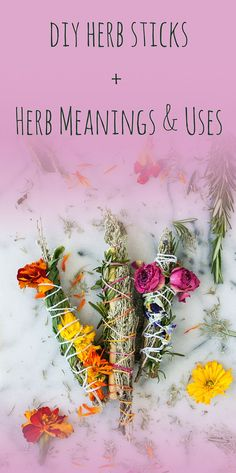 Pic3-diy-herb-sticks-herb-meanings-and-uses Rose Meaning, Herb Meanings, Plant Meanings, Wiccan Decor, Wiccan Crafts, Magic Herbs, Herbal Magic, Witch Herbs, Spirituality