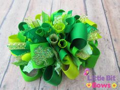 Green Shamrock St Patrick's Day Boutique Funky by LittleBitBows, $11.99
