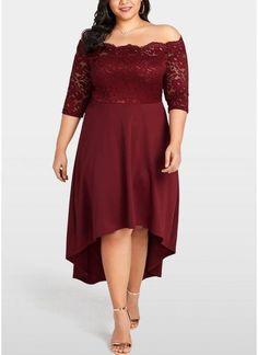 B| Chicloth Women Party Dress Plus Size Lace Scalloped Nightclub Vestidos Dress