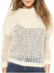 Stylish Round Neck Long Sleeve Cut Out Pure Color Women s Sweater Sweater  Design b8ef4d74d