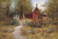 Country Pickins by Jon McNaughton Cottage In The Woods, Cottage Art, Cozy Cottage, Jon Mcnaughton, Thomas Kincaid, Under The Shadow, Litho Print, Country Landscaping, Landscaping Jobs